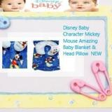Disney Bedding | Disney Baby Mickey Mouse Baby Blanket & Pillow Set | Color: Blue/Red | Size: Infant Baby Boy Baby Blanket & Neck Pillow