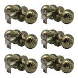 ABS Flat Round Privacy Doorknobs, Ball Indoor Keyless Doorknobs For Bedrooms & Bathrooms, Solid Stainless Steel Door Locks Set Of 6 in Yellow
