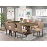 Canora Grey Nelia Butterfly Leaf Rubberwood Solid Wood Dining Set Wood/Upholstered Chairs in Brown, Size 30.0 H in | Wayfair