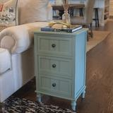 Alcott Hill® Three Drawers End Table, Antique Iced Blue Wood in Blue/Brown/Green, Size 15.2 H x 19.13 W x 25.71 D in   Wayfair