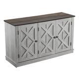 Gracie Oaks 3 - Door Sideboard Buffet Table w/ Cabinet Wood in White, Size 27.5 H x 48.0 W x 15.2 D in | Wayfair 2B8FE1B823B8436B88F624691C14C341
