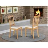 Xiangong East West Furniture Avon Modern Dining Chairs Faux Leather Seat & Black Finish Hardwood Frame Dining Chair Set Of 2 | Wayfair in White/Brown