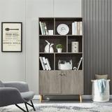 Corrigan Studio® Bookcase,bookshelf w/ Open Storage Shelf & 2 Close Cabinet, Coffee Wood in Brown/Green, Size 67.4 H x 35.5 W x 13.9 D in | Wayfair
