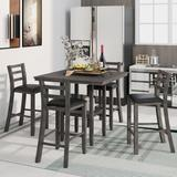 Red Barrel Studio® 5-Piece Wooden Counter Height Dining Set w/ Padded Chairs & Storage Shelving in Black/Gray, Size 35.7 H x 40.0 W x 40.0 D in