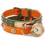Goldtone Stainless Steel & Double Leather-strap Padlock Watch - Orange - Versace Watches