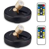 chiloyal Battery Powered Spot Lights, Wireless Picture Lights, LED Disc Lights, Dimmable Accent Lights w/ RF Remote Control in Black | Wayfair