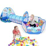 goodwish Play Tunnel Tent Playhouse Crawl Tunnel w/ Ball Pit Basketball Hoop Foldable Pop-up Tent in Blue, Size 35.4 H x 47.0 W x 123.3 D in Wayfair