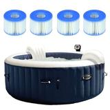 Intex Purespa Inflatable 4 Person Hot Tub Spa w/ 4 Type S1 Filter Cartridges in Black, Size 28.0 H x 58.0 W x 58.0 D in | Wayfair