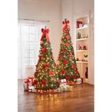 Fully Decorated Pre-Lit 6-Ft. Pop-Up Christmas Tree by BrylaneHome in Poinsettia