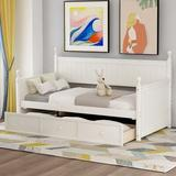 Rosalind Wheeler Wood Daybed w/ Three Drawers, Twin Size Daybed,No Box Spring Needed, White Wood in Brown/White, Size 45.4 H x 80.5 W x 42.7 D in