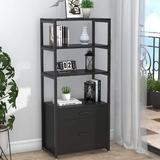 Latitude Run® Bookcase Bookcase, 4 Layers Modern File Cabinet w/ 2 Drawers, Horizontal File Cabinet Can Accommodate in Black | Wayfair