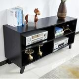 """George Oliver Tv Stand Storage Media Console,52"""" Wood Tv Stand Console w/ 4 Open Storage Shelves Wood in Black, Size 24.6 H in   Wayfair"""