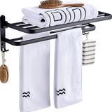 WOODYHOME Foldable Wall Shelf w/ Towel Rack in Black, Size 7.4 H x 15.7 W x 4.5 D in | Wayfair WFZA7295350