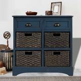 August Grove® Wood Storage Cabinet w/ Two Drawers in Blue, Size 28.0 H x 28.0 W x 11.8 D in   Wayfair 7EF8D435478E4915A01EEF72EFD406E7