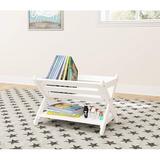 Sunside Sails ' Book Caddy w/ Shelf, Bookcase Storage w/ Shelf, Book Storage Organizer For Toddlers, Wood in White | Wayfair