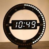 """Ivy Bronx 12"""" Modern Digital LED Round Ring Wall Clock 3D USB Electronic Clock 12/24 Hour Display For Home/Office in Black 