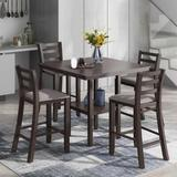 Red Barrel Studio® 5-Piece Wooden Counter Height Dining Set w/ Padded Chairs & Storage Shelving, Size 35.7 H x 40.0 W x 40.0 D in | Wayfair