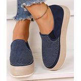 YASIRUN Women's Walking Shoes Blue - Blue & Silver Rhinestone Slip-On Espadrille - Women