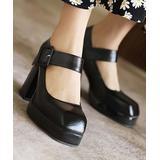 BUTITI Women's Sandals Black - Black Buckle-Strap Block-Heel Platform Pump - Women