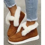 YASIRUN Women's Casual boots Brown - Brown & White Fleece-Accent Hi-Top Slip-On Sneaker - Women