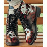 ROSY Women's Casual boots Red - Black & Red Tentacle Skull Lace-Up Boots - Women