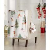 Great Bay Home Throws Holiday - Red & White Holiday Cats Sherpa Reversible Throw