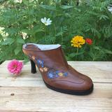 Nine West Shoes | Nine West Brown Leather Embroidered Floral Mules | Color: Brown | Size: 6