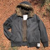 American Eagle Outfitters Sweaters | Aeo Zip Sherpa Lined Hooded Sweatshirt. | Color: Brown/Gray | Size: M