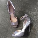 Jessica Simpson Shoes   Jessica Simpson Silver Cutout & Rhinestone Heels   Color: Silver   Size: 9.5