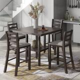Red Barrel Studio® 5-Piece Wooden Counter Height Dining Set w/ Padded Chairs & Storage Shelving Wood/Upholstered Chairs in Brown/Green | Wayfair