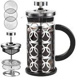 WORTHSPARK French Press Coffee Maker 12 Oz Stainless Steel Coffee Press w/ 4 Filters Heat Resistant Durable Borosilicate Glass For Campers Portable Dishwasher