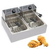 YINOMA 12L 5000W Electric Deep Fryer Dual Tank Stainless Steel Commercial Restaurant, Size 12.2 H x 17.3 W x 21.78 D in | Wayfair YINOMA-0027