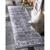 Red Barrel Studio® Sofia Collection Area Traditional Vintage Rug, French Inspired Perfect For All Home Decor,Runner, Dark Gray/Ivory Polypropylene