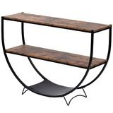 17 Stories Console Table, Coffee Table Shelf Demilune Shape Texture Metal Distressed Wooden Sofa Table, Suitable For Living Room & Entrance Wood
