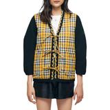 Reversible Quilted Check Jacket - Yellow - Maje Jackets
