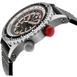 Contasecondi Black/red Dial Black Calfskin Leather Watch - Black - Gv2 Watches