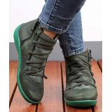 RXFSP Women's Casual boots Green - Green Elastic-Strap Leather Ankle Boot - Women