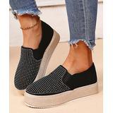 YASIRUN Women's Walking Shoes Black - Black & Silver Rhinestone Slip-On Espadrille - Women