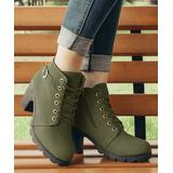 ROSY Women's Casual boots Armygreen - Army Green Lace-Up Ankle Boots - Women