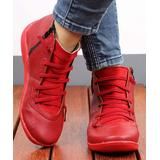 RXFSP Women's Casual boots Red - Red Elastic-Strap Leather Ankle Boot - Women