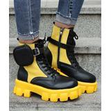 PAOTMBU Women's Casual boots YELLOW - Yellow & Black Pouch Combat Boot - Women