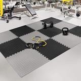 dingqitech Tiles Gym Flooring Gym Mats Exercise Mat For Floor Workout Mat Foam Floor Tiles For Home Gym Equipment Garage in Gray/Black | Wayfair