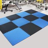 dingqitech Tiles Gym Flooring Gym Mats Exercise Mat For Floor Workout Mat Foam Floor Tiles For Home Gym Equipment Garage in Blue/Black | Wayfair