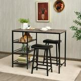 Lark Manor™ Sedalia 3 Pcs Counter Height Dining Bar Table Set w/ 2 Stools & 3 Storage Shelves-Black Wood/Metal/Upholstered Chairs in Black/Brown/Gray