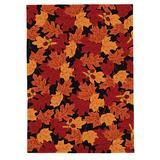 Red Barrel Studio® Millbrook Floral Handmade Tufted Black/Red/Orange Area Rug Polyester in Black/Orange/Red, Size 96.0 W x 1.0 D in   Wayfair