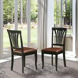 Xiangong East West Furniture Avon Modern Dining Chairs Faux Leather Seat & Black Finish Hardwood Frame Dining Chair Set Of 2 | Wayfair in Black/Brown