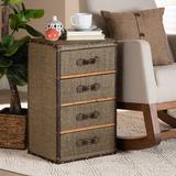 Williston Forge Breinigsville Mid-Century Modern Fabric Upholstered 4-Drawer Accent Storage Cabinet Wood in Brown, Size 25.5 H x 16.0 W x 12.0 D in