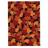 Red Barrel Studio® Millbrook Floral Handmade Tufted Black/Red/Orange Area Rug Polyester in White, Size 24.0 W x 1.0 D in | Wayfair