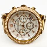 Michael Kors Accessories   Michael Kors~Parker~Rose-Gold & Pearl Glitz Watch   Color: Gold/White   Size: Appro 6.9 Inner Diameter