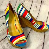 Nine West Shoes | Nine West Pink Blue Striped Peep Toe Wedges - 8.5m | Color: Blue/Green/Pink/White/Yellow | Size: 8.5